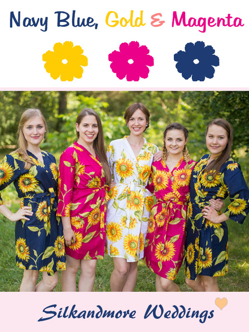 Navy Blue, Magenta and Yellow Gold Wedding Color Robes