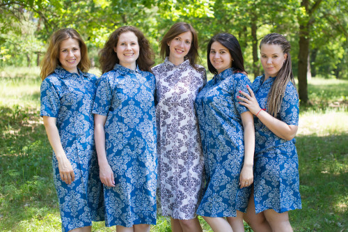 Damask Housecoats for bridesmaids to get ready in