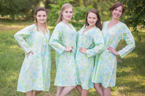 Ombre Fading Leaves Housecoats for bridesmaids to get ready in