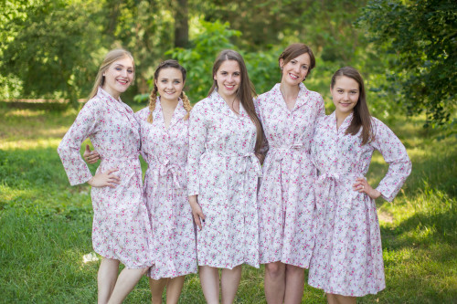 Tiny Blossoms Housecoats for bridesmaids to get ready in