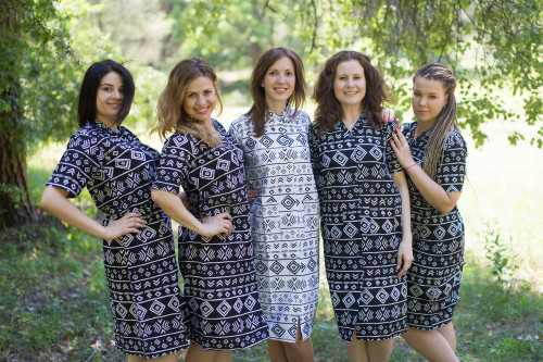 Tribal Aztec Housecoats for bridesmaids to get ready in