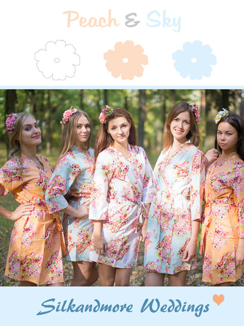 Peach and Light Blue Wedding Color Robes
