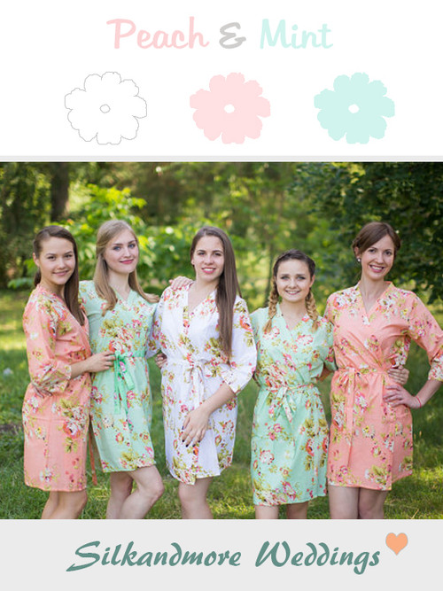 Peach and Mint Wedding Color Robes