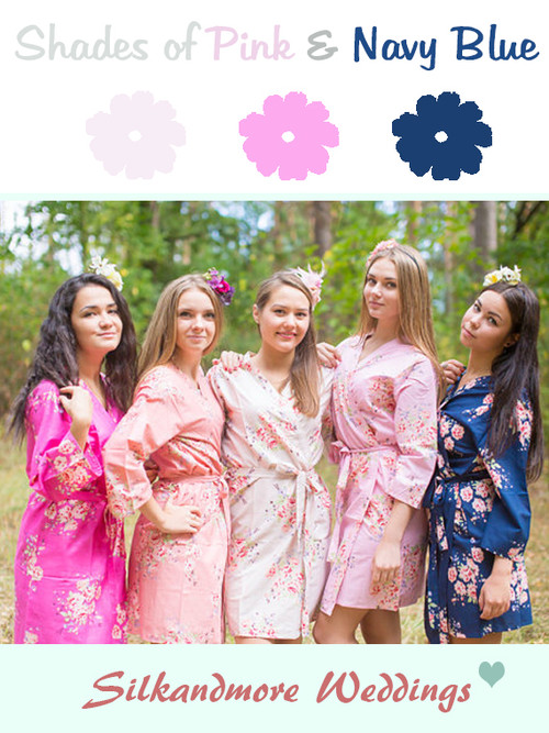 Navy Blue, Pink and Peach Wedding Color Robes