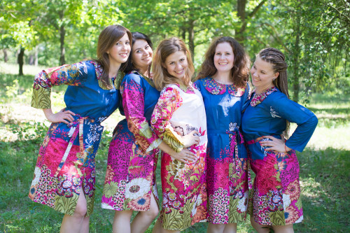 Vibrant Foliage Housecoats for bridesmaids to get ready in