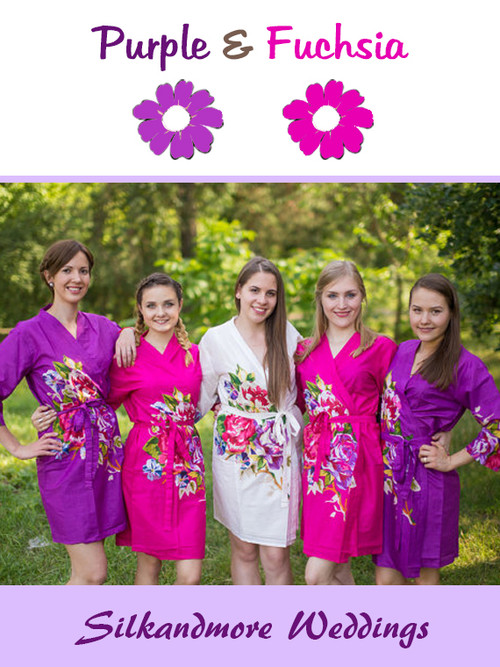 Purple and Fuchsia Pink Wedding Color Robes