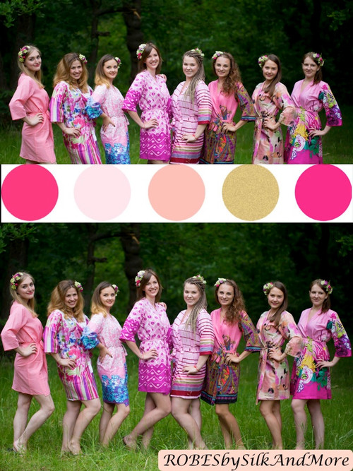 Assorted Pink Patterns | SilkandMore Robes