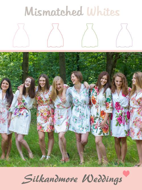 Mismatched White Patterns   SilkandMore Robes