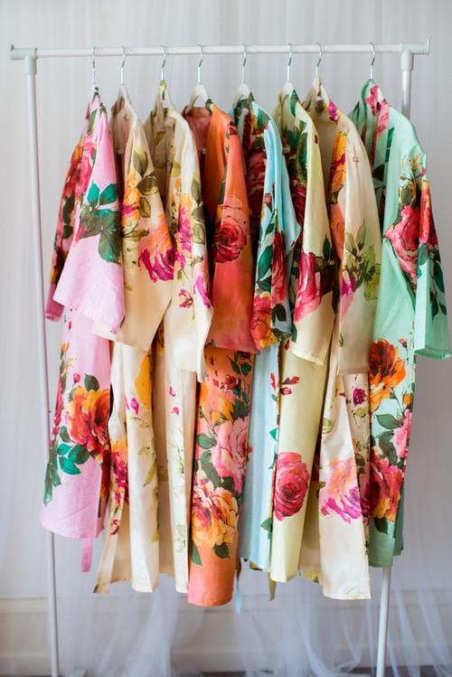 Mismatched Large Floral Blossom3 Robes in soft tones