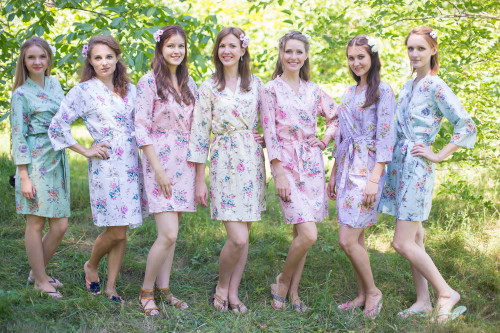 Mismatched Romantic Floral Robes in soft tones