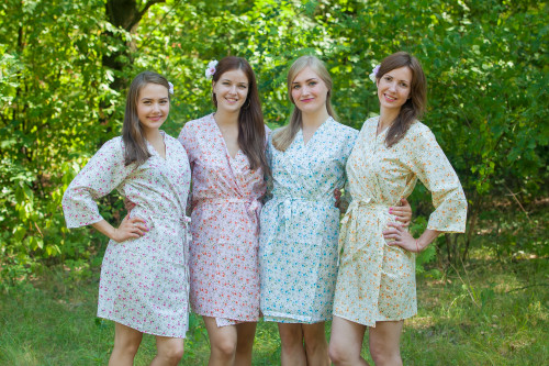 Mismatched Starry Florals Robes in soft tones