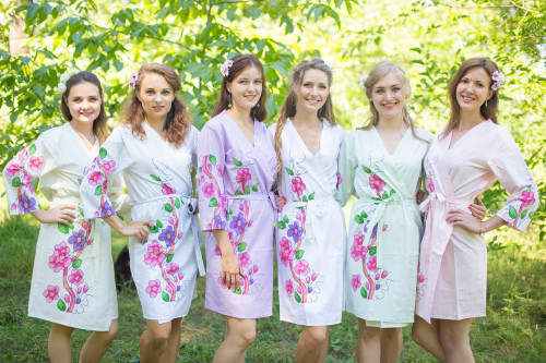 Mismatched Swirly Floral Vine Robes in soft tones