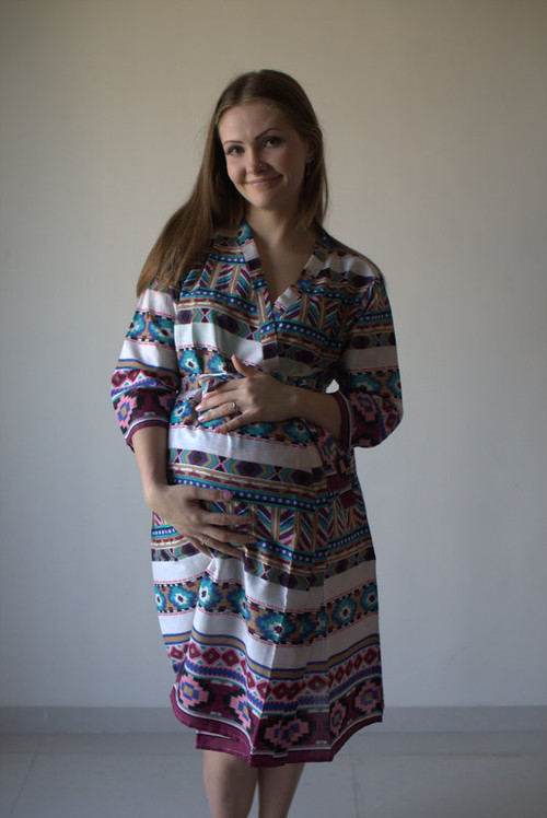 Aztec Geometric Maternity Robe