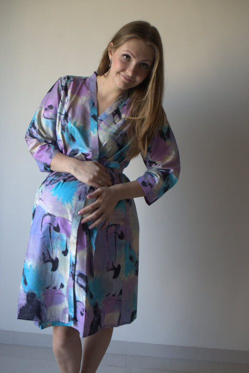 Flamingo Watercolor Maternity Robe