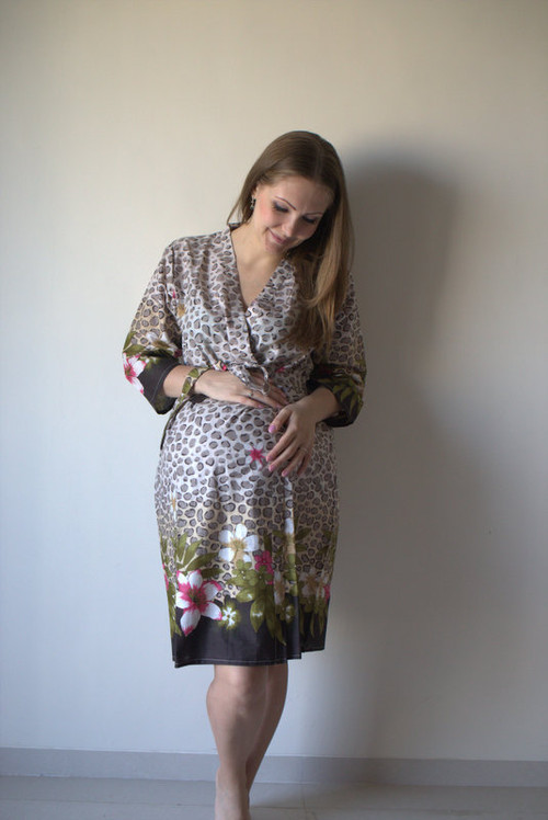 Fun Leopard Maternity Robe