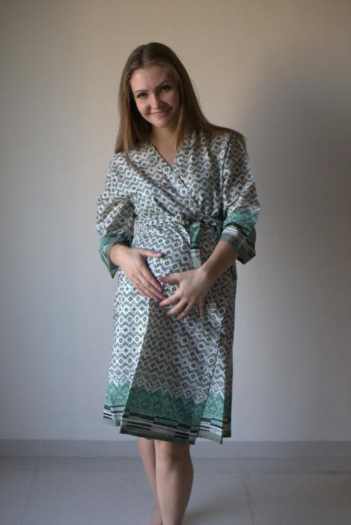 Geometric Chevron Maternity Robe