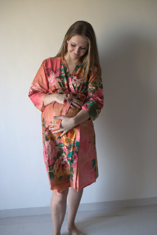 Large Floral Blossom Maternity Robe