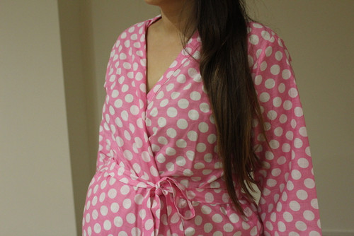 Polka Dots Maternity Knee Length Robe
