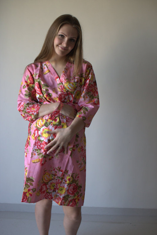 Rosy Red Posy Maternity Robe