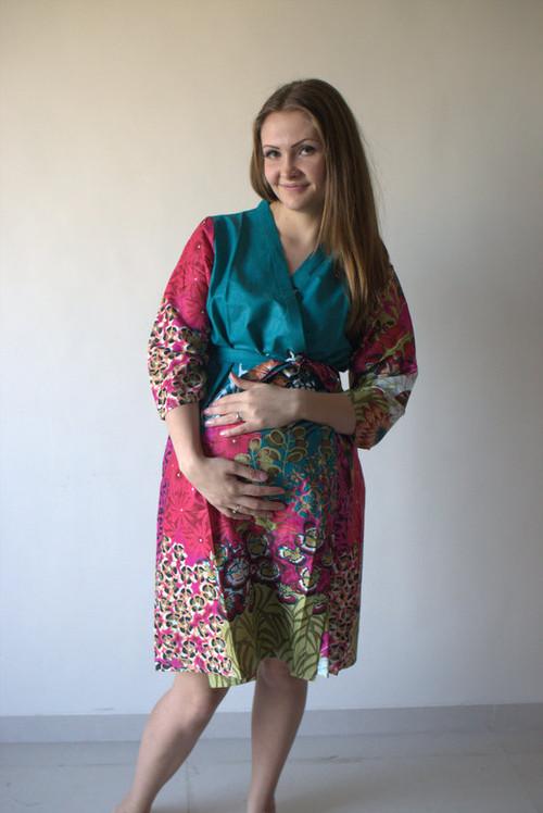 Vibrant Foliage Maternity Robe