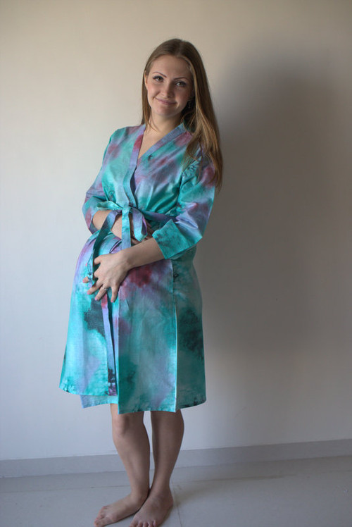 Watercolor Splash Maternity Robe