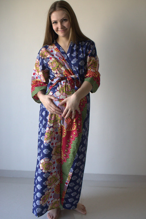 Floral Bordered Full Length Maternity Robe
