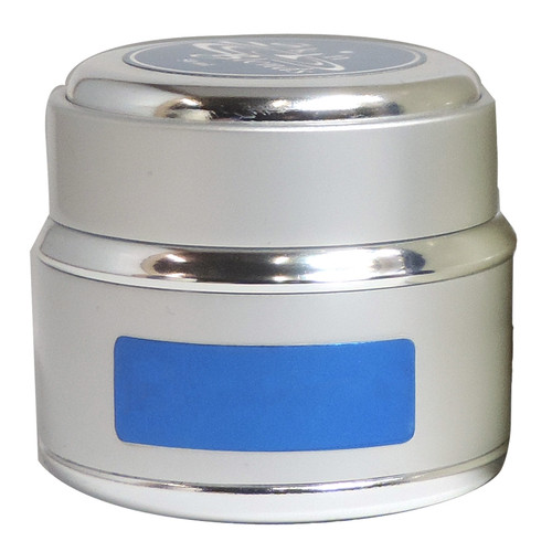 50ml Silver Metal Jar and Lid w/White Glass inside