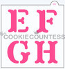 """4 piece block print Alphabet Stencil. Each letter is approximately 1"""" in size. Set comes with a masking stencil with a single open square, to isolate one letter and mask off the rest, to avoid overspray if using an airbrush. Overall stencil size is approximately 5.5"""" x 5.5"""". PINK sections in image are the open sections. Stencils are 5mil Food Grade plastic, washable and reusable."""
