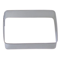 Tinplated steel cookie cutter.  Hand wash & dry thoroughly before storing.