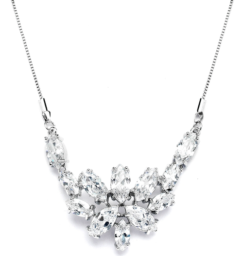 CZ Cluster Wedding Necklace with Marquis Leaves