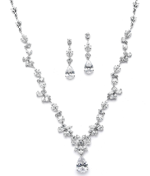 Luxurious CZ Vine Wedding Necklace and Earrings Set