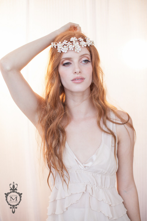 Justine M. Couture Pearl and Glitter Crown