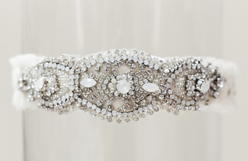 "La Gartier Wedding Garter ""Megan Moonstone"""