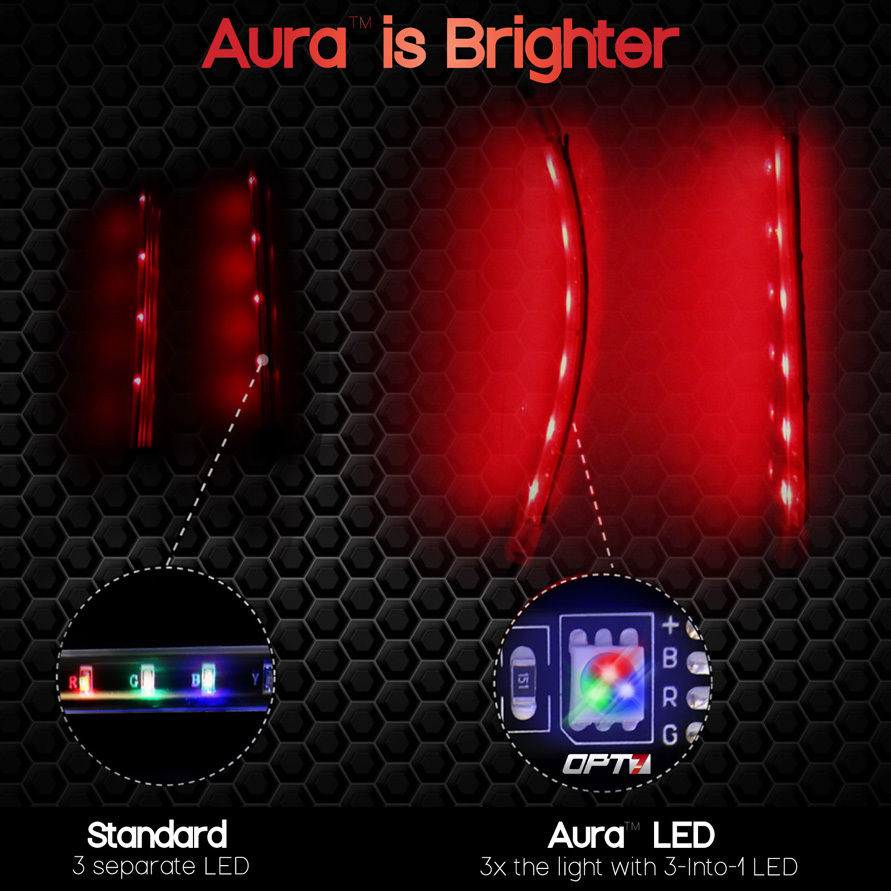 Aura 10pc Motorcycle Mult Color Led Glow Light Strip Kit