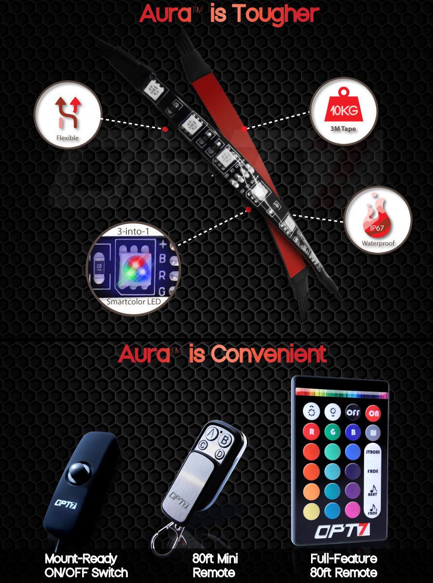 Aura 10pc Motorcycle Mult Color Led Glow Light Strip Kit