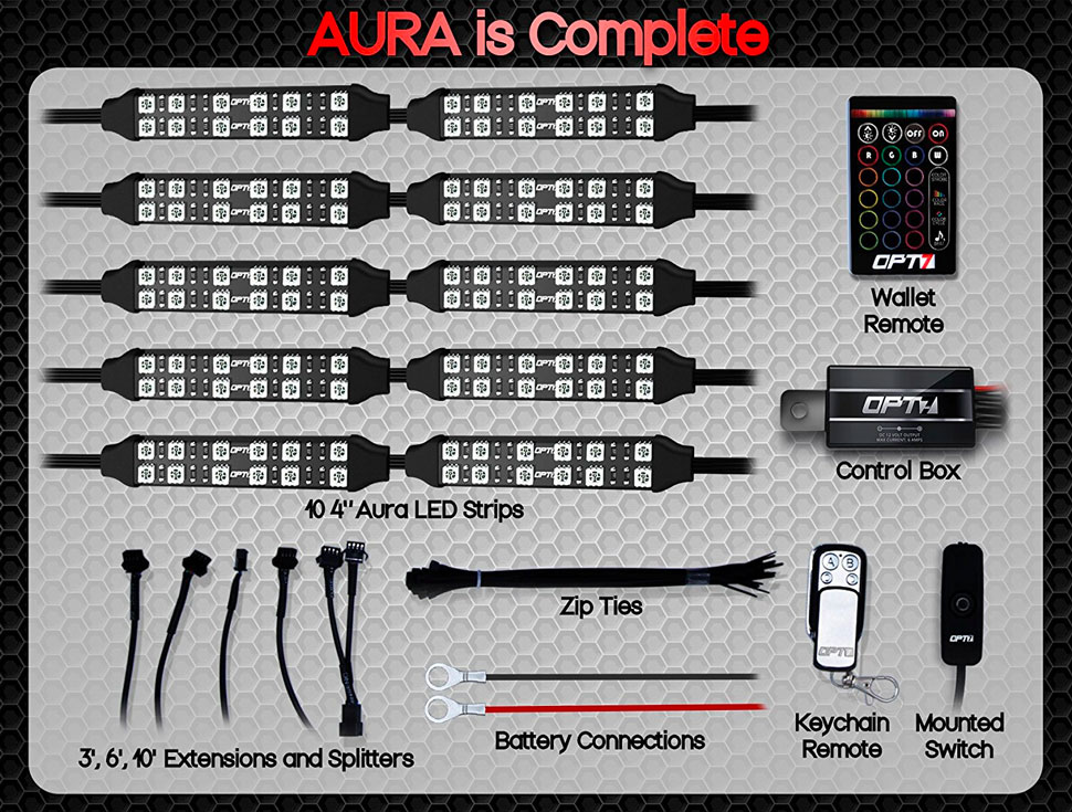 Aura Double Row Motorcycle Multi Color Led Light Strip Kit