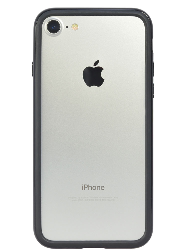 Arc bumper for iPhone 7 Piano Black on silver iPhone back