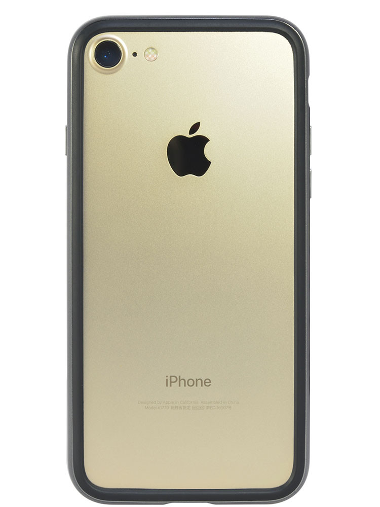 Arc bumper for iPhone 7 Chrome Black on gold iPhone back