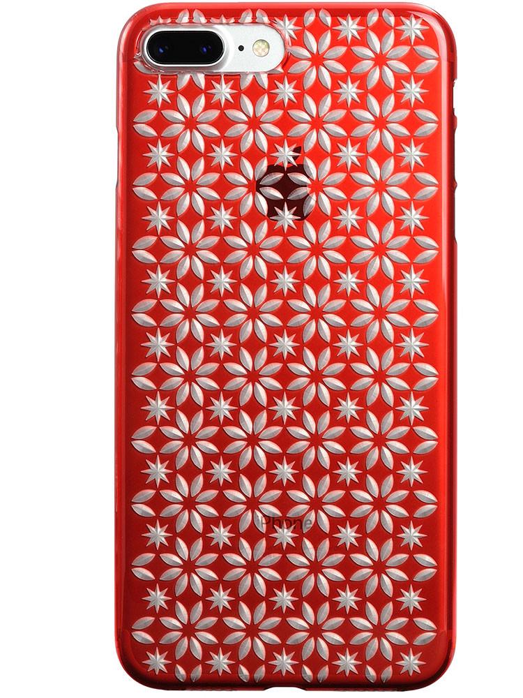 Air Jacket KIRIKO for iPhone 7 Plus Pinwheel & Star Red