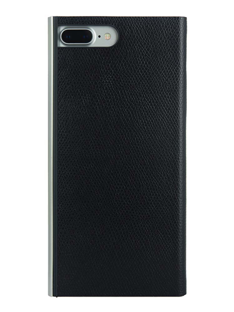 Flip Jacket for iPhone 7 Plus Embossed Leather Back Black