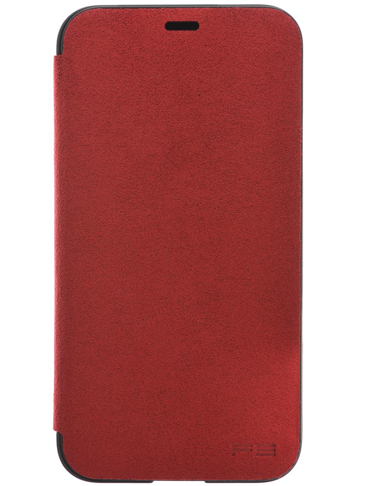 Ultrasuede Flip Case for iPhone X Front Red