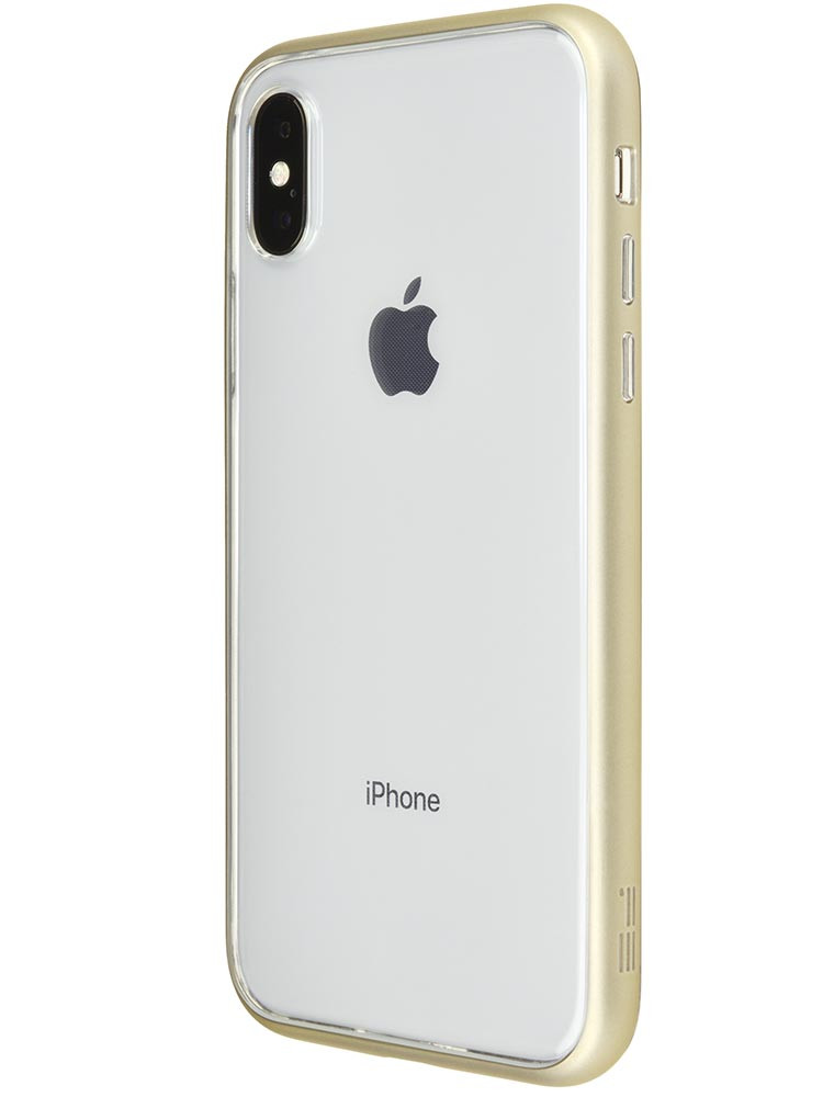 Shock Proof Air Jacket for iPhone X Rubber Gold Back-side with iPhone X