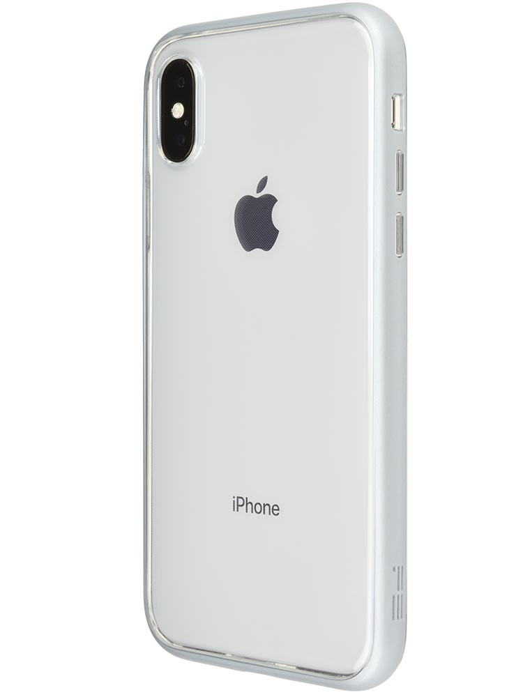 Shock Proof Air Jacket for iPhone X Rubber Silver Back-side with iPhone X