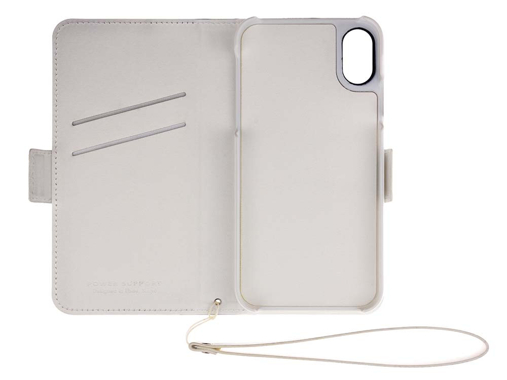 Leather Flip Case for iPhone X White Open