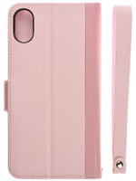 Leather Flip Case for iPhone X Rose Back