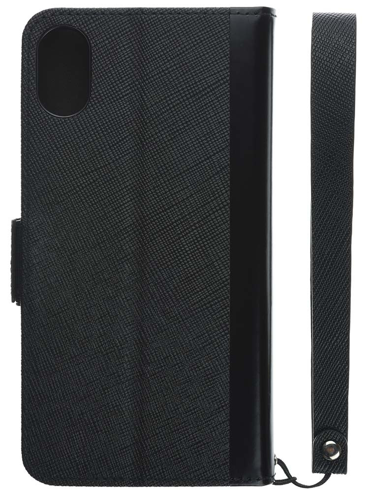 Leather Flip Case for iPhone X Black Back