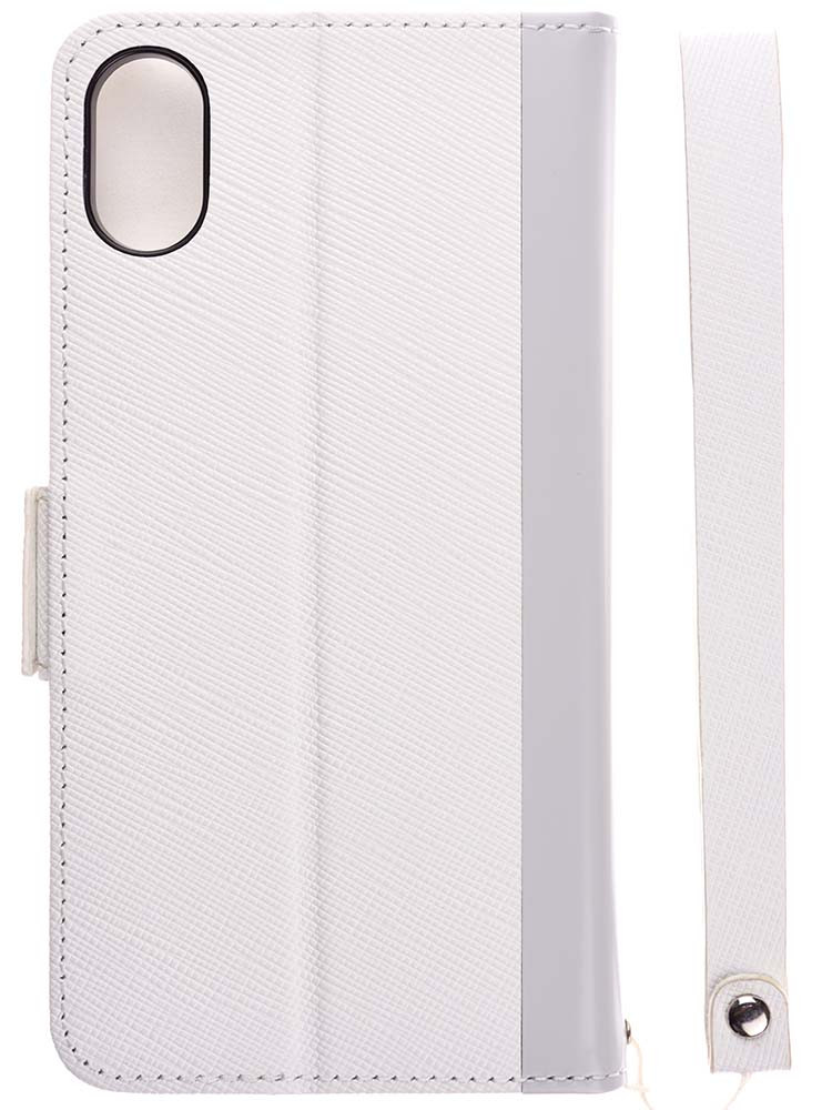 Leather Flip Case for iPhone X White Back