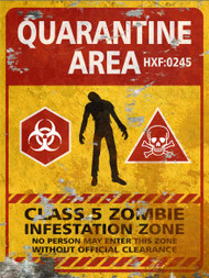 Quarantine Area Sign - Halloween Decor Prop Road and Lawn Decoration Sticker