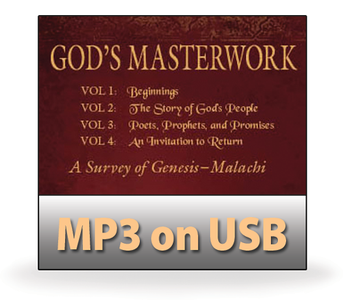 God's Masterwork OLD TESTAMENT, Vols 1-4. Genesis to Malachi.  40 MP3 on USB Series