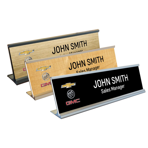 Chevy Buick GMC Name Plates with Aluminum Desk Holder